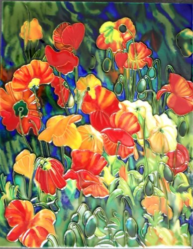 Continental Art Center HD 054 Poppy Flowers Art Tile, 11 by 14-Inch