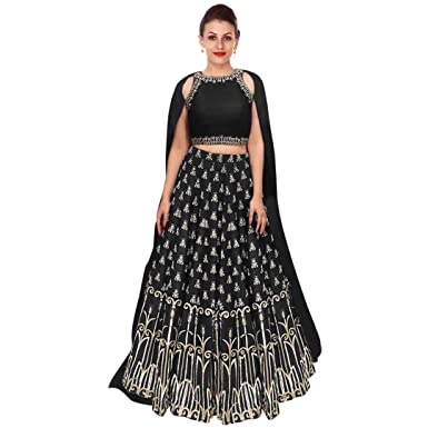 bc31f8b51f Rozy Fashion Black Embroidered Semi Stitched Lehenga Choli Material With  Matching Georgette Dupatta: Amazon.in: Clothing & Accessories