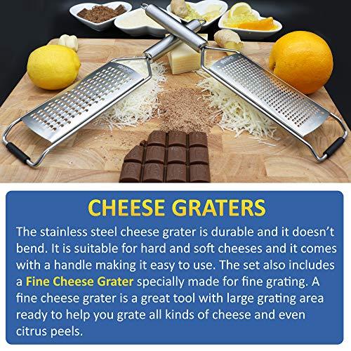 NMF 5 Pack - Lemon Zester & Cheese Grater set, Julienne & Vegetable Peeler, Manual Can Opener, Keyring Bottle Opener by NMF The New Market's Face (Image #2)