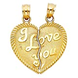 14K Yellow Gold ''I Love You'' Couple Broken Heart Charm Pendant For Necklace or Chain