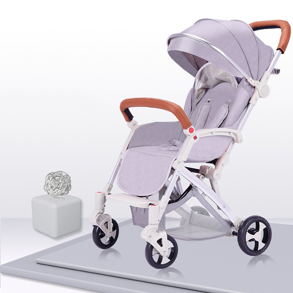 HAIZHEN マウンテンバイク ベビーカートは座る/軽い折り畳み可能な傘のトロリーを履くことができます四輪EVAの泡の衝撃吸収銀のアルミニウム合金サンシェード抗UV太陽の保護赤ん坊の運送 新生児 B07DL99TB3 グレー グレー