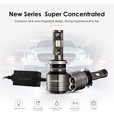 Auxbeam Led Headlights F-T1 Series H7 Led Headlight Bulbs with 2 Pcs of 70W 8000lm LED Chips Conversion Kits Single Beam with Temperature Control: Automotive
