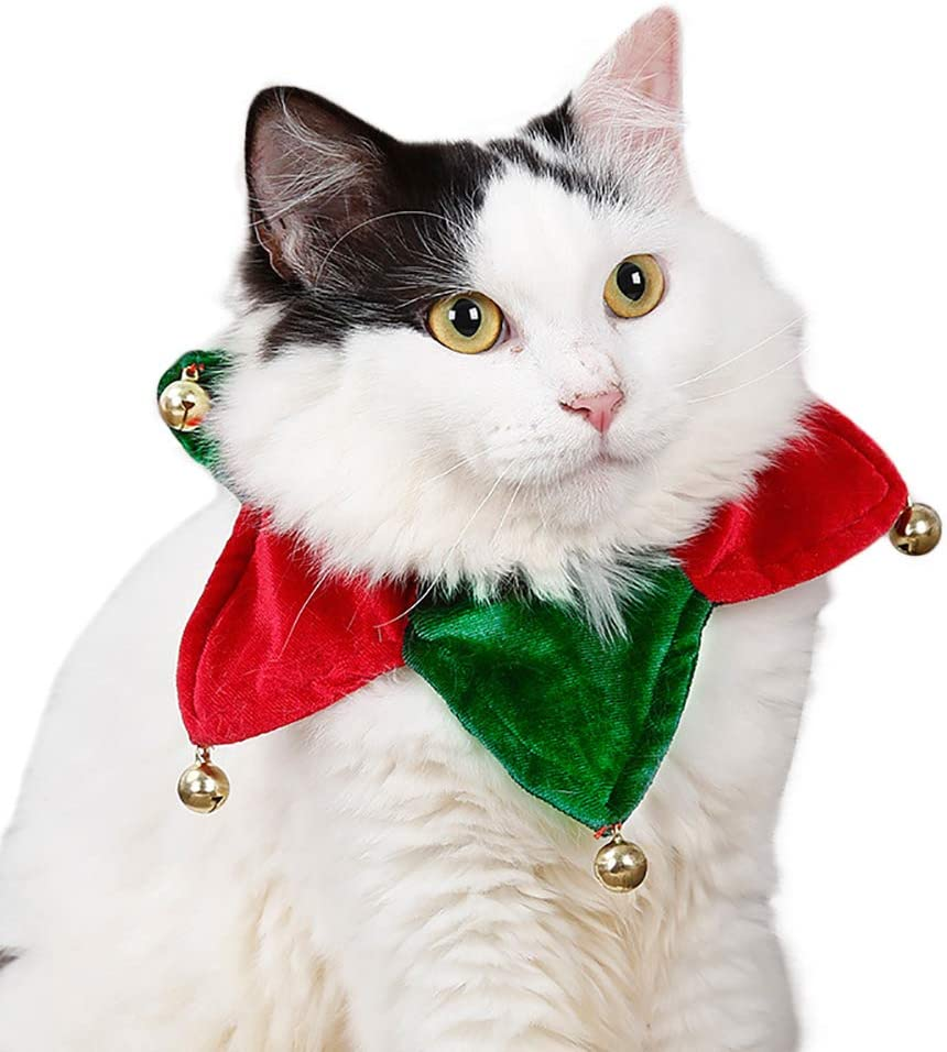 Uscyo Pet Adjustable Christmas Santa Scarf Collar Bow Tie Christmas Costume for Puppy Kitten Small Cats Dogs Pets