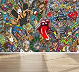 Wall Mural Graffiti Music collage Street Style, Peel and Stick Repositionable Fabric Wallpaper for Interior Home Decor (118''w x 78''h)