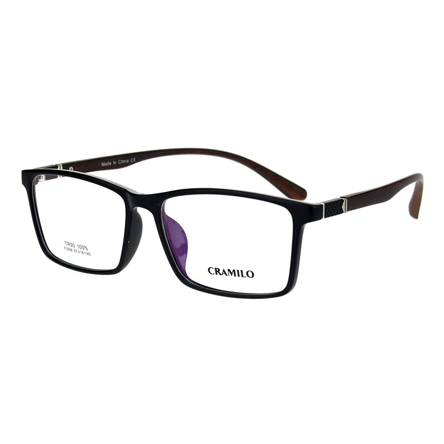 Mens Extra Wide 57mm TR90 Plastic Rectangular Optical Eyeglasses Frame irf3006-bkbl