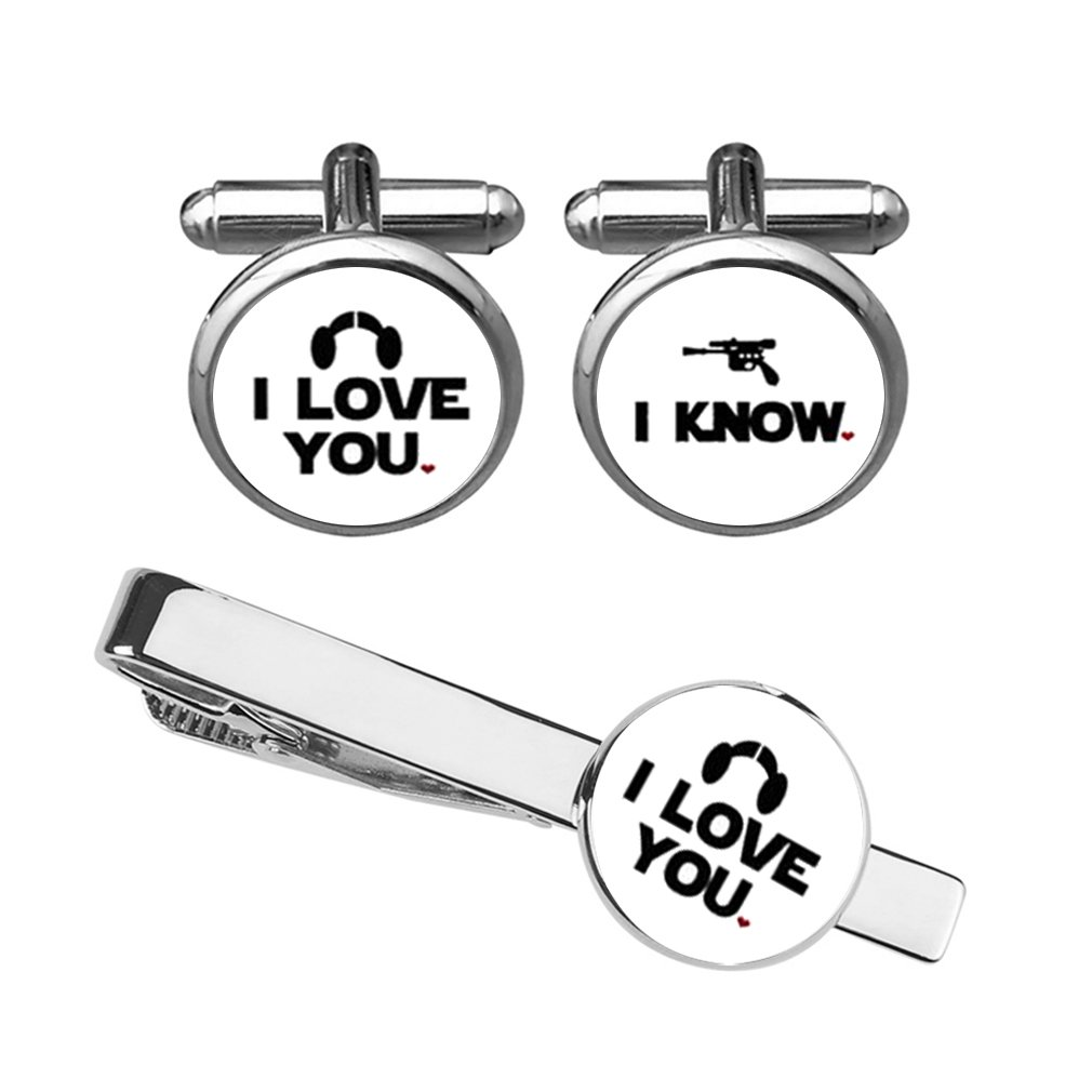 ZUNON I Love You I Know Cufflinks Superhero Wedding Anniversary Groom Husband Boyfriend Tie Bar Tacks Clip (White Set)