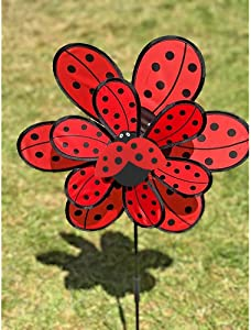 Garden Pinwheels Whirligigs Wind Spinners Flower Spinners Red Double Layer Ladybug Windmill Wind Spinner Pinwheel for Home Garden Yard Decoration Outdoor Baby Toys, 2pcs