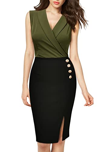 MissMay Women's Workwear Business Lapel Sleeveless Cocktail Party Pencil Dress
