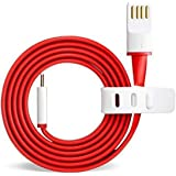 Kakooze Micro USB Flat Wire Data Cable for OnePlus One X (Red & White)