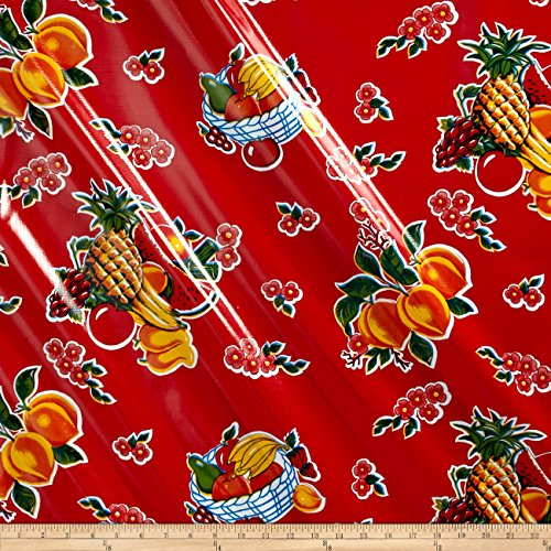 Oilcloth Cane Red Fabric By The Yard