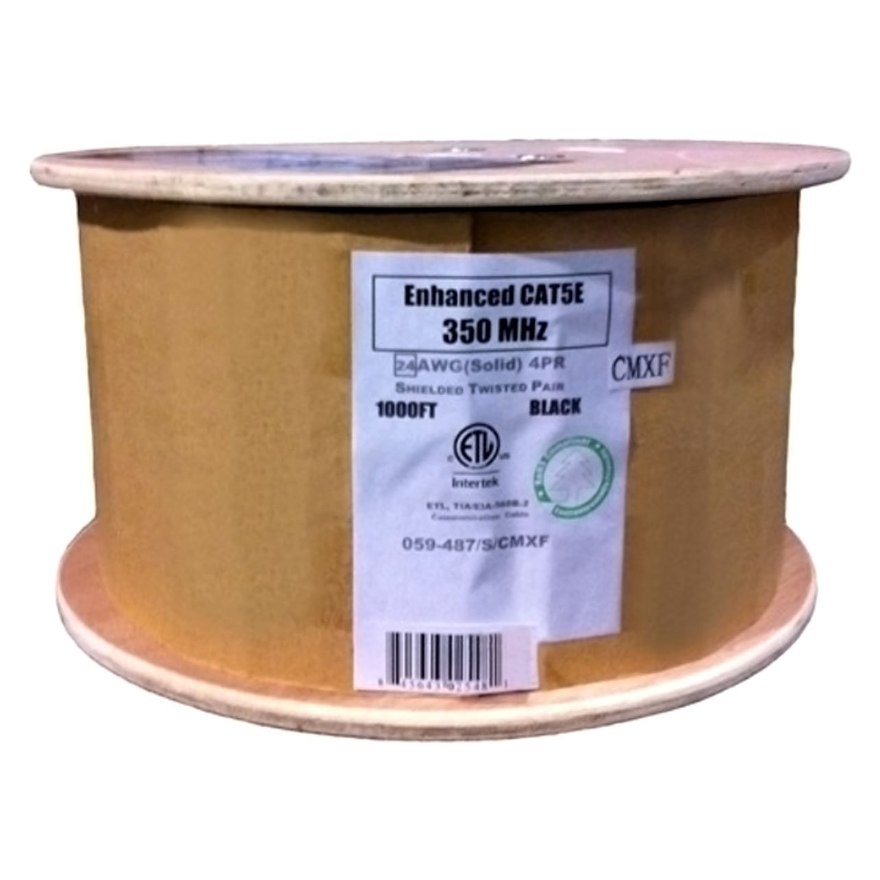 Vertical Cable Cat5e, 350 Mhz, Shielded, Gel Filled (Flooded Core), Direct Burial, 1000ft, Black, Bulk Ethernet Cable, Wooden Spool by Vertical Cable