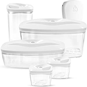 Dafi Set of 5 Vacuum Seal Containers with Electric Pump White BPA-Free