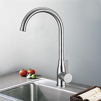 kinse® edelstahl gebürstet 360° drehbar küchearmatur ... - Wasserhahn Küche Edelstahl Gebürstet