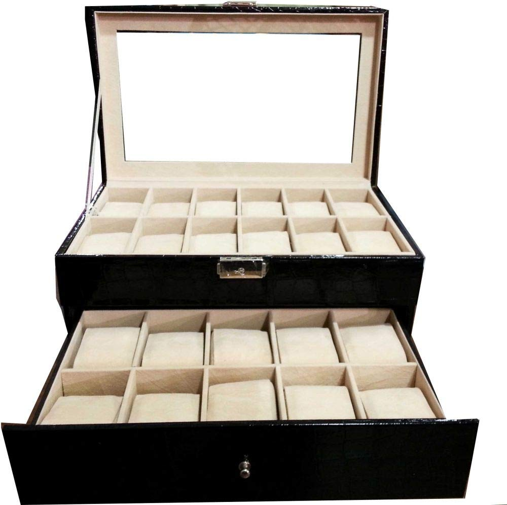 fd74031f8 Watches Box For 12 Pcs Watches Black: Amazon.ae