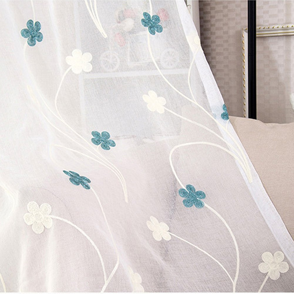 Aside Bside Rod Pocket Top Leisure Style Twin Plum Embroidered Permeable Window Decoration Sheer Curtains For Houseroom Child Room and Sitting Room (1 Panel, W 52 x L 63 inch, Blue)