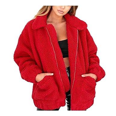 8be12beca Women Faux Shearling Coat Oversized Zip Winter Fuzzy Fleece Teddy Bear  Jacket