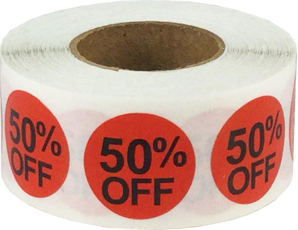 Rosso Cerchio 50% di Sconto Punto Adesivi, 19 mm 3/4 Pollice Rotondo, 500 Etichette su Rotolo InStockLabels.com