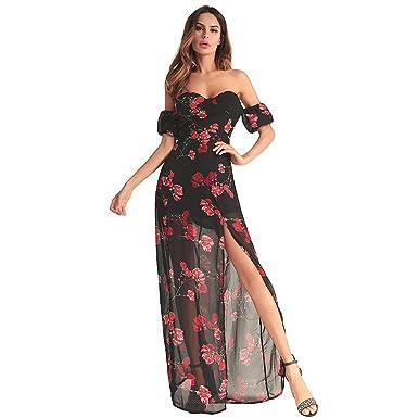 af7e951f50 antaina Estampado de Flores de Gasa Negro Fuera del Hombro de la Raja Alta Sexy  Largo Vestido de Playa de Las Mujeres  Amazon.es  Ropa y accesorios