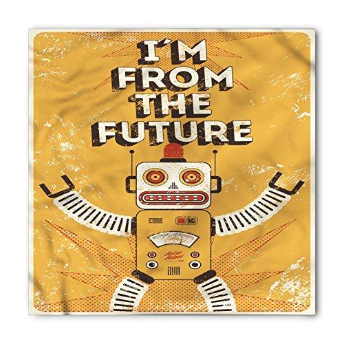 Lunarable Vintage Bandana, Future Quote Robot Figure, Unisex Head and Neck Tie ()