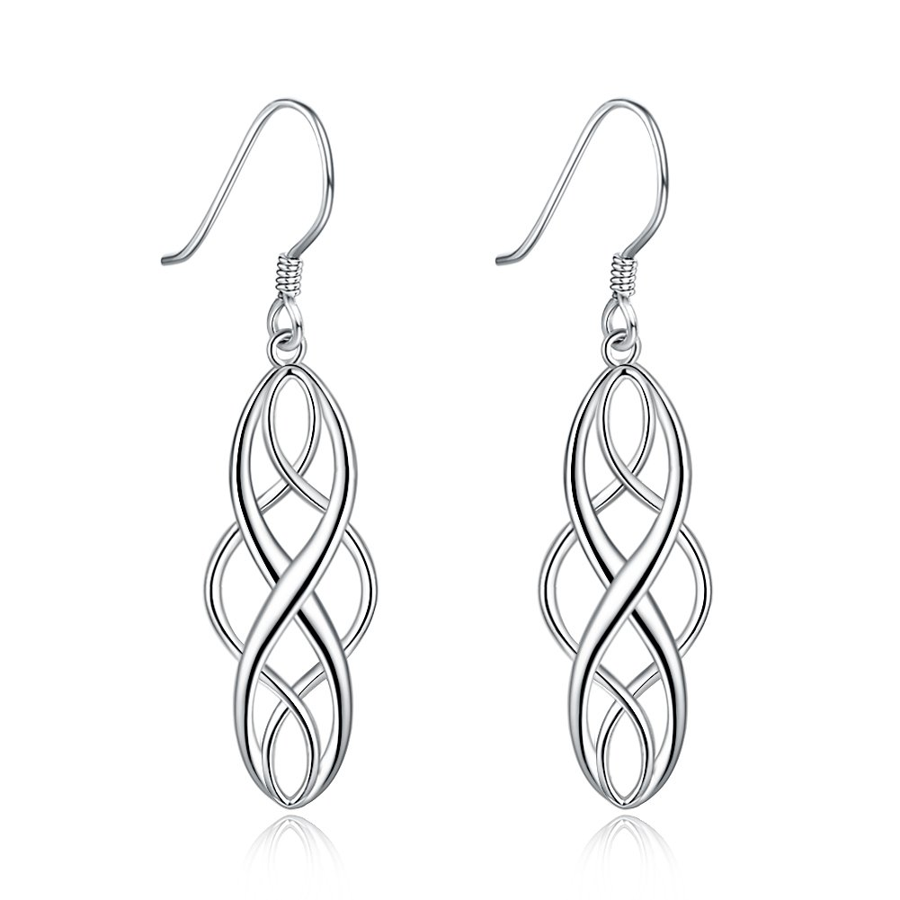 Gagafeel Dangle Earrings S925 Sterling Silver Celtic Knot Design Oval Drop Earrings Gift For Women Girls (Silver)