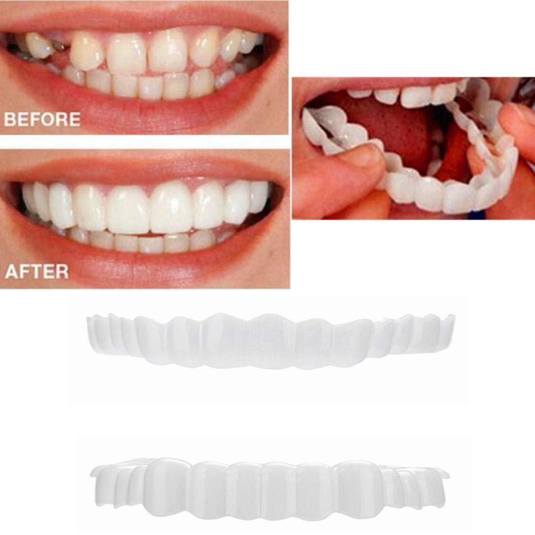 Jamicy Zähne Top & Bottom Cosmetic Veneer 1 Paar temporäre Lächeln Comfort Fit kosmetische Zähne Prothese Zähne kosmetische Aufkleber Jamicy004