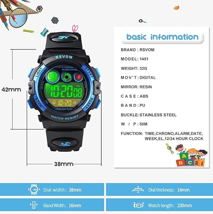 Relojes de Pulsera para niños, Reloj Digital a Prueba para niños a 50 m con 12/24H /Alarma/Luz de Colores EL, Relojes electrónicos para niños de Color Azul ...