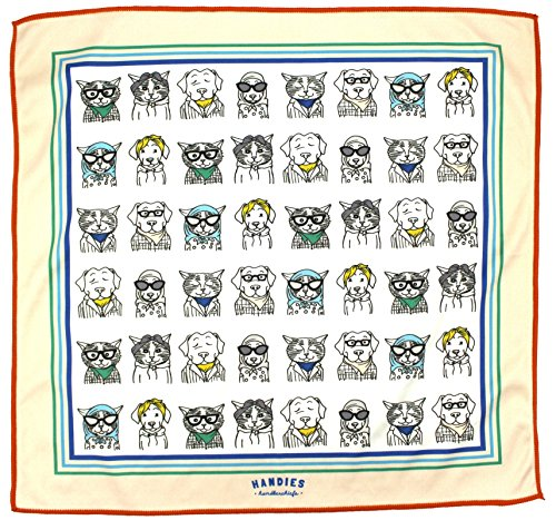 Handies Handkerchiefs - Unisex Microfiber Pet Design Hankies Cleaning Cloth Pocket Square Travel Accessory (Pets of Our Lives), Nude, 12'' x 12'' by Handies Handkerchiefs