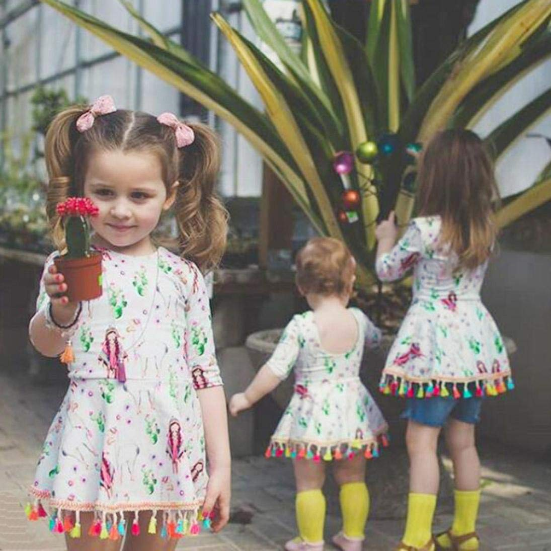 Halloween Kid Dress,Fineser Toddler Kid Baby Girl Dress Backless Tassel Cartoon Print Dresses Halloween Party Outfits