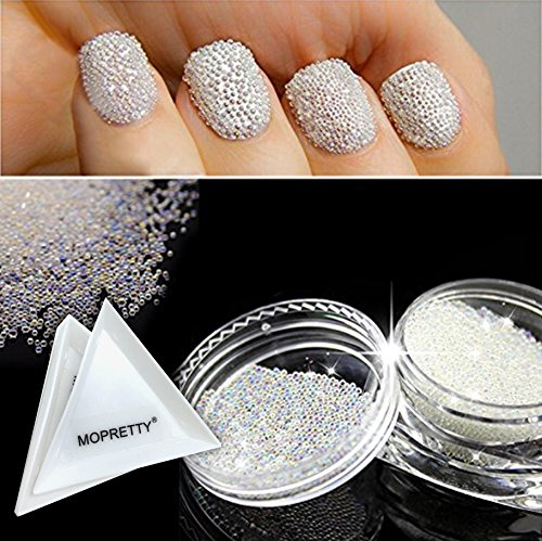 MOPRETTY Nail Art Micro Rhinestone AB Crystal Glass Mini Beads Gardient Dazzling Caviar Beads 3D Nail Decoration 0.6mm 2 Bottle/set + 1pc Free tray