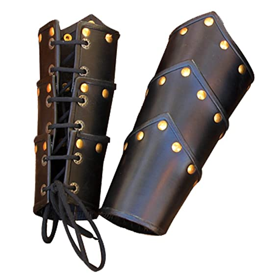 Deluxe Adult Costumes - Black leather swordsman vambrace - arm guard pair by Armor Venue