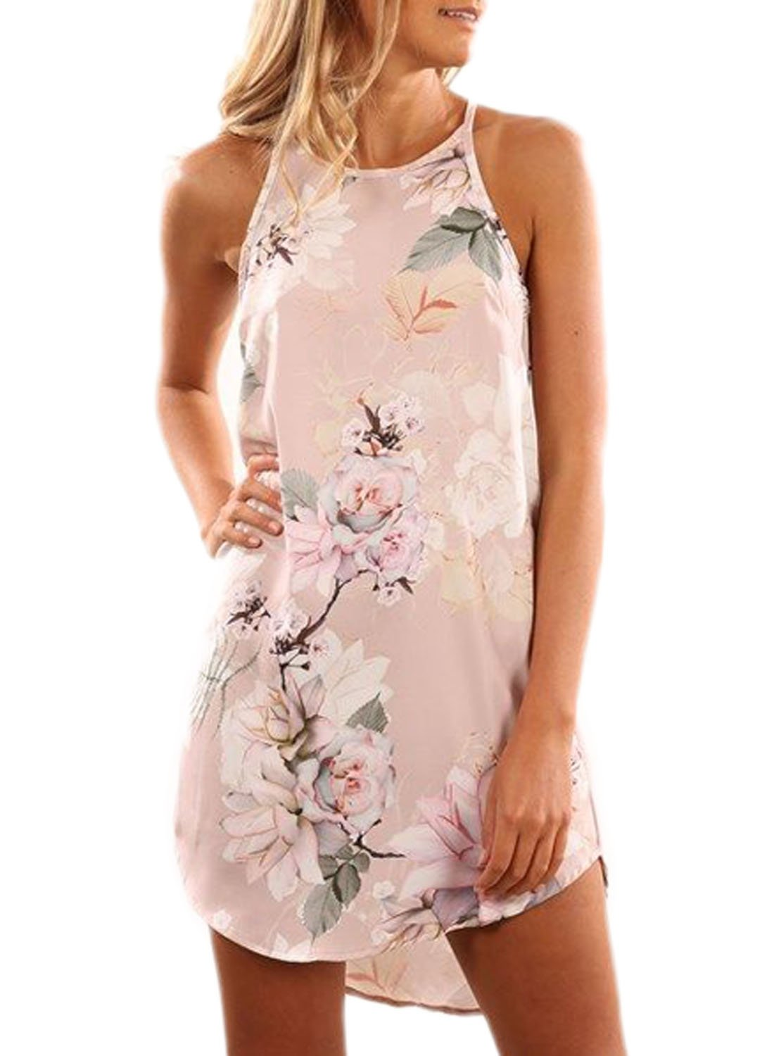 Asvivid Women's Summer Halter Neck Floral Print Sleeveless Casual Mini Dress AF220101-K