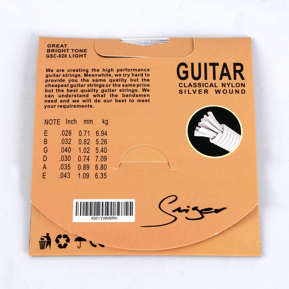 Smiger GSC-028 Classical Guitar Strings Nylon Silver wound,Light Great Bright,Rust prevention.028-.043 3 Pack
