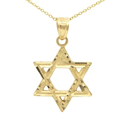 Amazon ice on fire jewelry 10k yellow gold star of david ice on fire jewelry 10k yellow gold star of david pendant necklace 16quot gold aloadofball Image collections