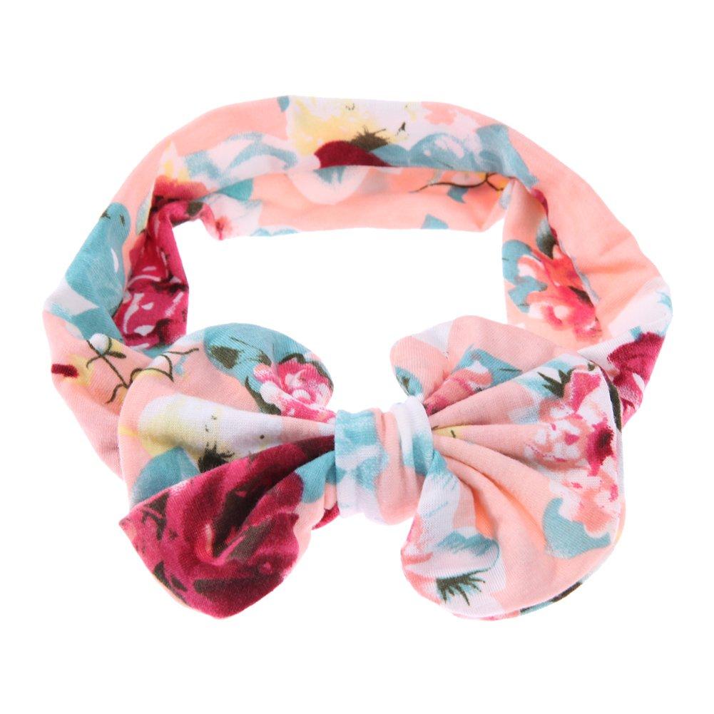 La Cabina Bébé Fille Bandeaux de Cheveux Elastique Floral Imprimé Bowknot Bandeaux Coiffure Décoration pour Cheveux Headwear Joli Multicolore 184302