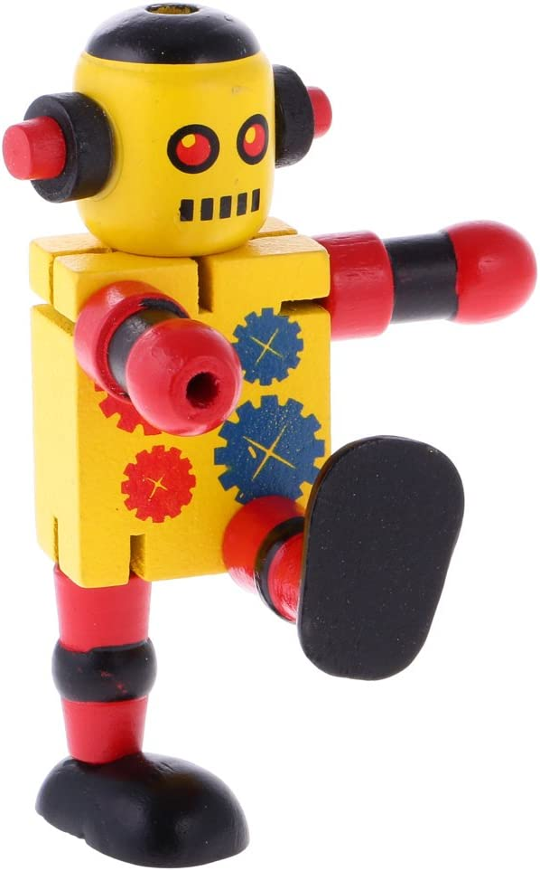 Montessori Wooden Walnut Joint Robot Action Figure Educational Kids Toy Gift