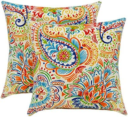 RSH D cor Indoor Outdoor Set of Throw Toss Pillows Bright Primary Color Thin Line Floral Paisley 17″ x 17″