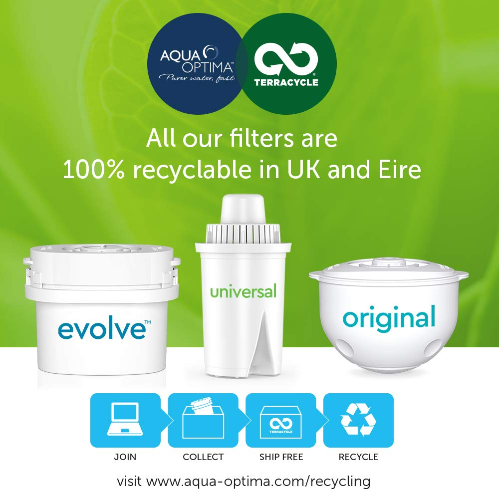 White Plastique Aqua Optima EJ0651 Oria Water Filter Jug with 6 x 60 Day Evolve Filter-12 Month Annual Pack 0 cm
