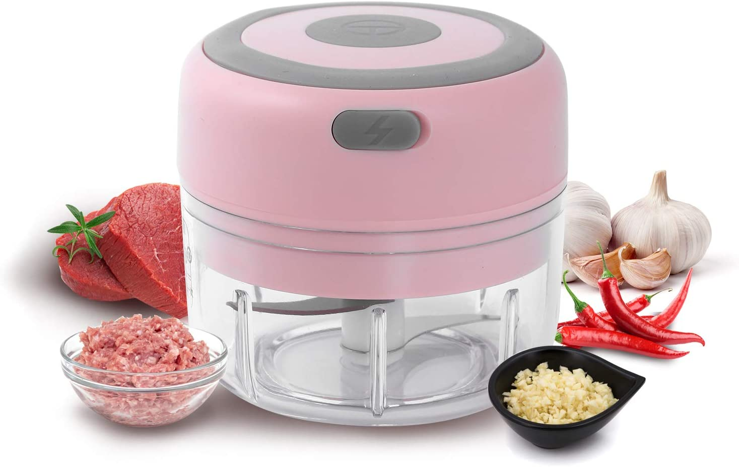 Electric Mini Garlic Chopper, Food Slicer And Chopper 100ML, Kuopry Blender to Meat/Vegetables/Chop Fruits/Onion/Garlicr, Wireless Portable Food Processor, Mini Chopper Food Processor-Pink