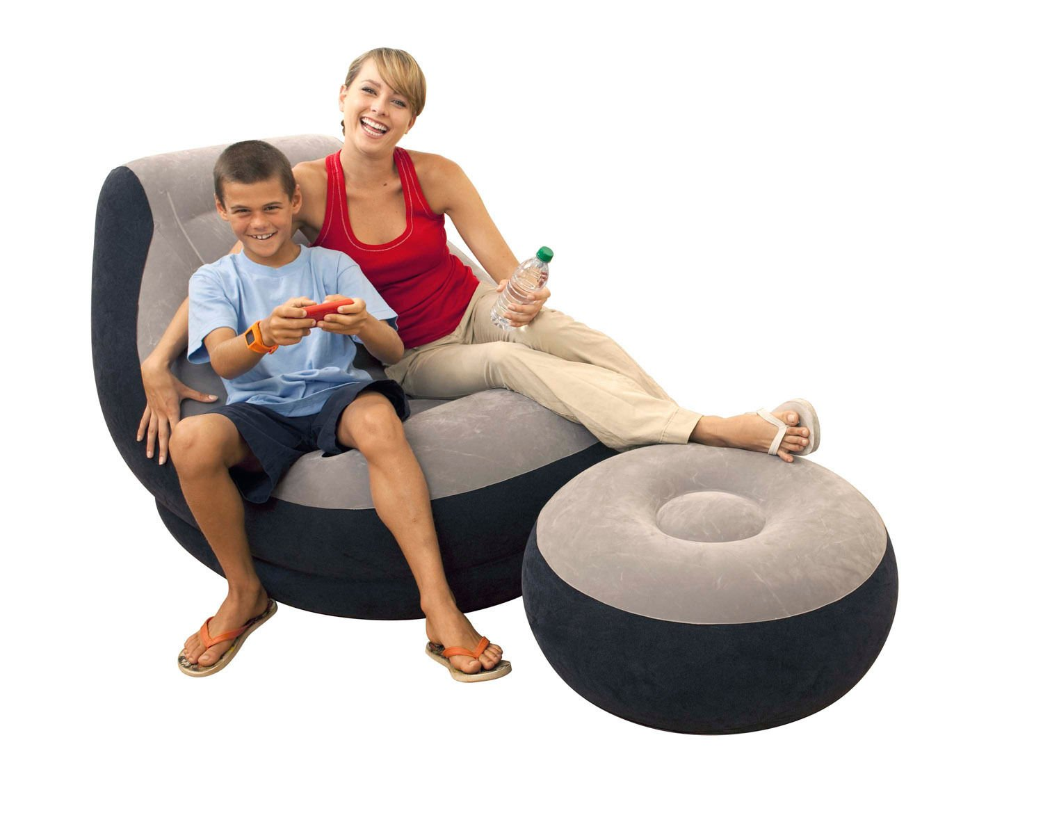 Amazon Inflatable Ultra Lounge Chair With Cup Holder And Ottoman Set Kitchen Dining