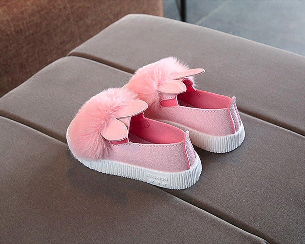 Auwer Toddler Baby Girls Shoes Non-Slip Cartoon Bunny Ear Plush Boots Sneaker