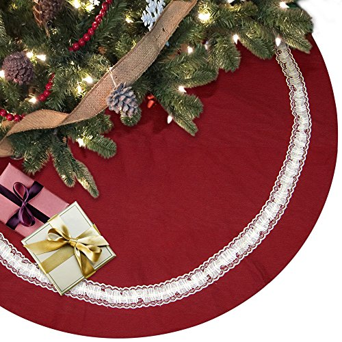 Ivenf 140cm 55 inch Extra Large Cotton Linen Plain Christmas Tree Skirt Xmas Tree Decorations with White Lace