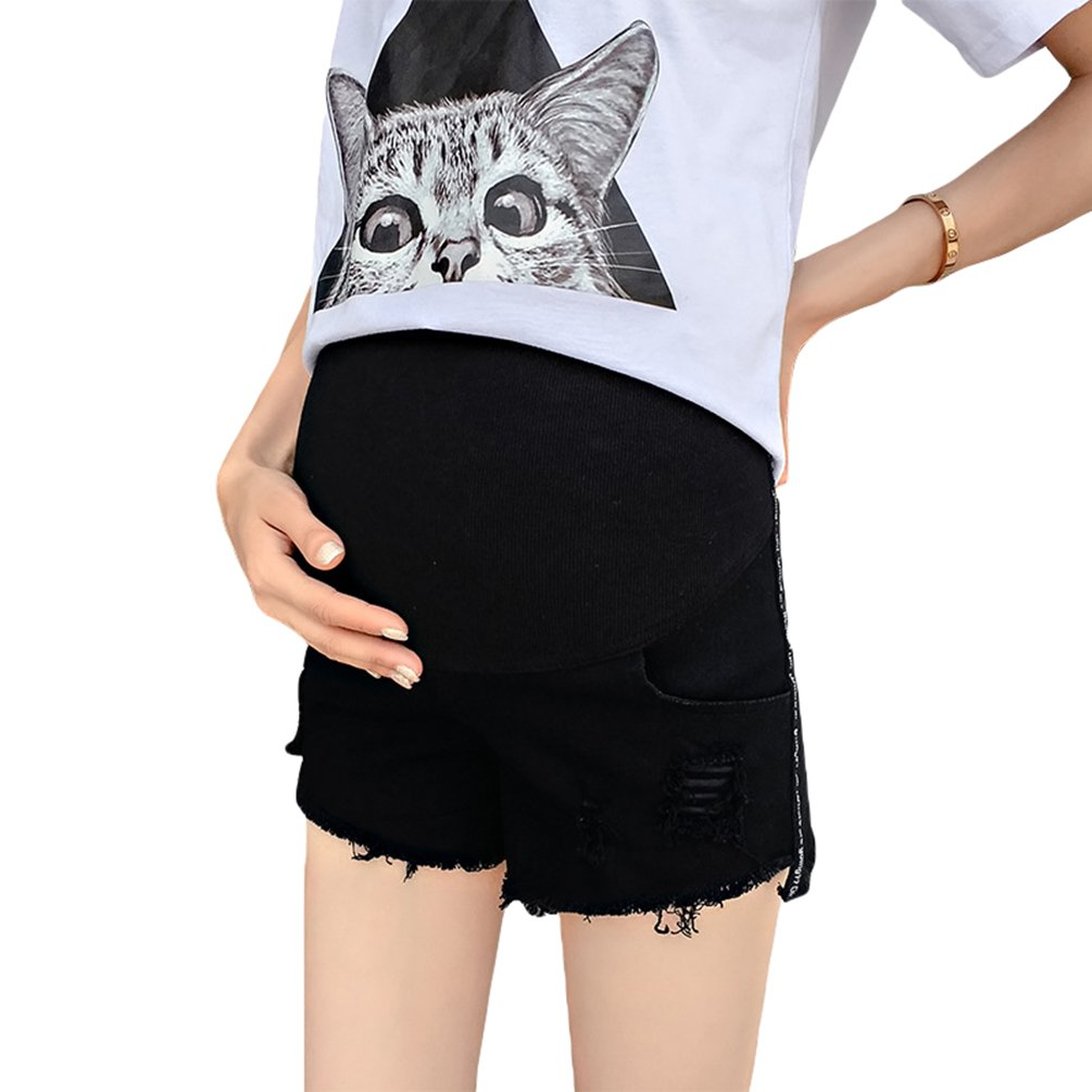 Lvguang Pantalones Cortos de Maternidad de Mezclilla Casual Soild Color Abdomen de Enfermería Agujeros Rotos Pantalones Cortos