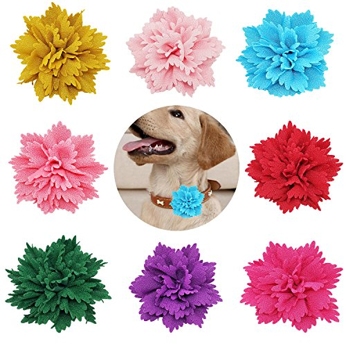 """PET SHOW 3"""" Pet Charms Flower Collar Accessories for Cat Small Medium Large Dogs Bowtie Customes Pack of 8"""