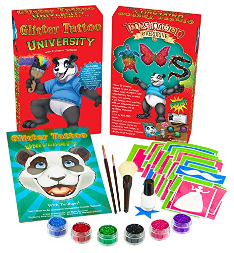 Art Awesome (Imagination Overdrive Glitter Tattoo University JUMBO Starter Kit - OVER 30 Stencils, More Glitter, More FUN! Make Awesome Temporary Shimmering Glitter Tattoos and Body Art!)