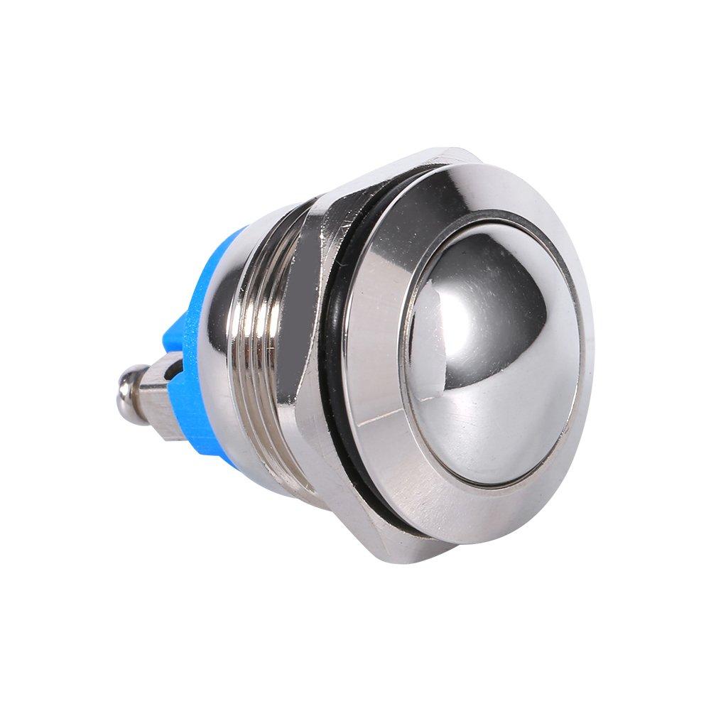 Qiilu 19mm bouton-poussoir /étanche voiture en m/étal klaxon interrupteur momentan/é 12V