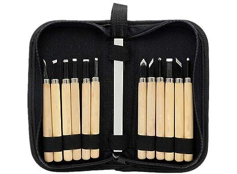 Chi yue - Juego de 12 herramientas para tallar madera con ...