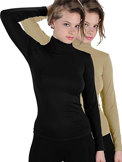 78583250 Ekimo T-USA 2 Pack Basic Seamless Mock Neck Turtleneck Long Sleeve ...