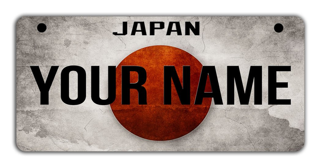 BRGiftShop Personalize Your Own License Japan Flag Country Plate Bicycle Bike Stroller Childrens Toy Car 3x6 Tag