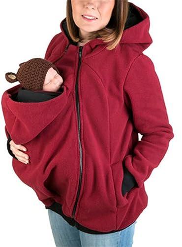 YOGLY Chaquetas de Mujer Tres-en-uno Multifuncional Madre Canguro Sudaderas con Capucha de Mujer Cap...