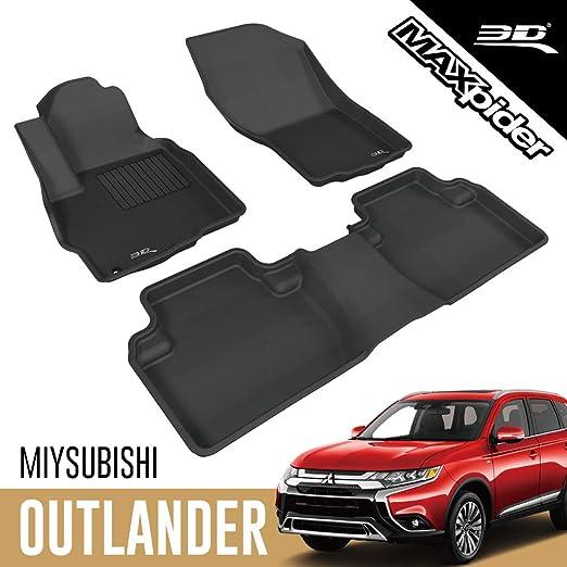 Black Coverking Custom Fit Front and Rear Floor Mats for Select Mitsubishi Outlander Models CFMBX1MB9229 Nylon Carpet